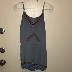 Tea N Cup Chambray Embroidered tank romper size S